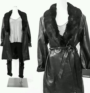 VINTAGE Black LEATHER Winter Coat Jacket FUR COLLAR Womens ...