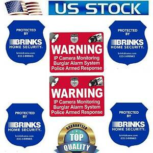 Home Window Security Stickers Decal signs For Brinks Alarm+Adt/'l Cameras in use
