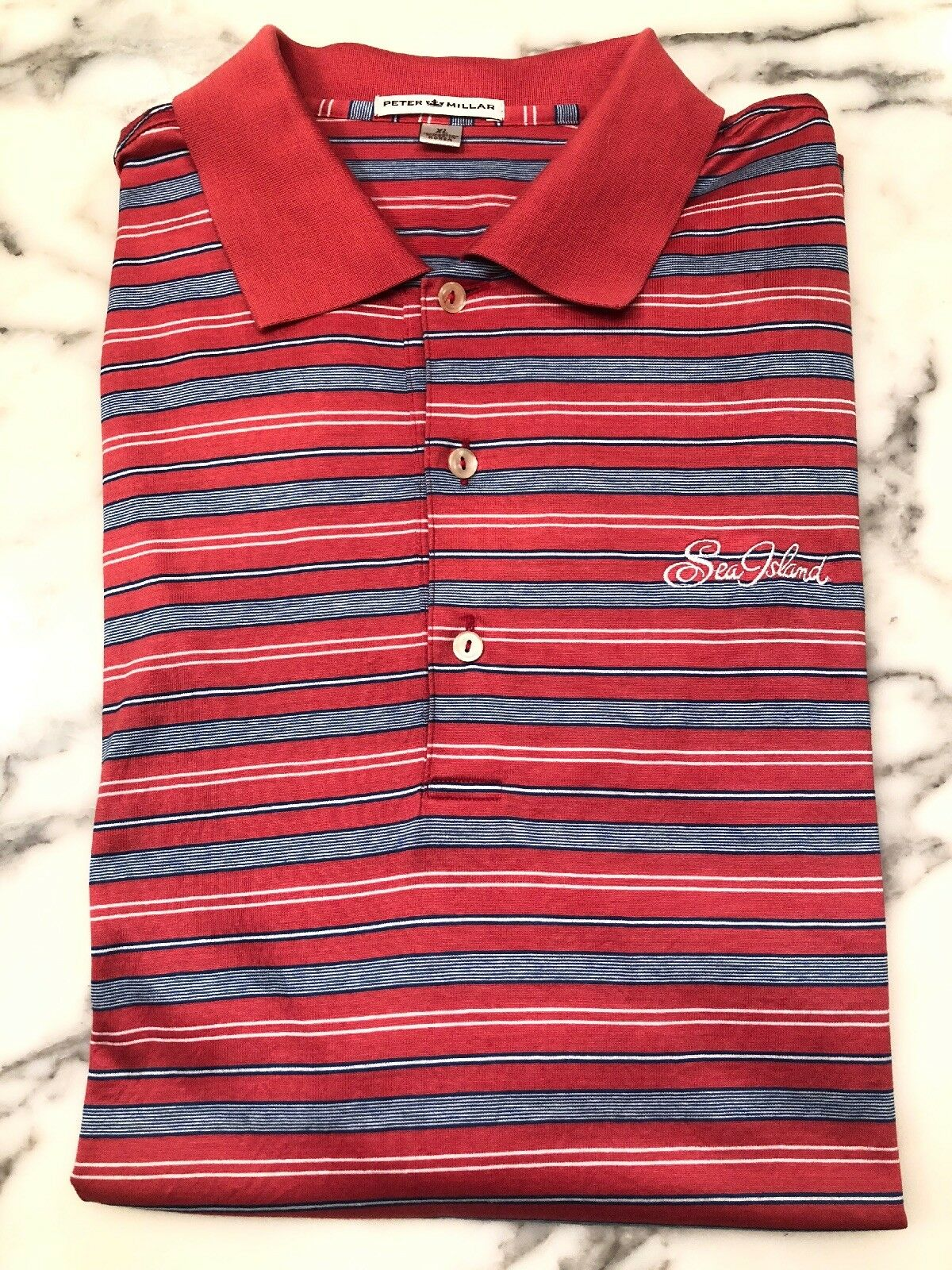 02f31d6884f2b6 Men's Peter Millar Sea Island XL Short Sleve Polo Red White And bluee Stripe