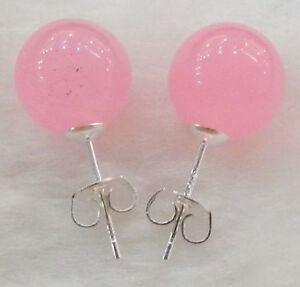 New-10mm-Jewelry-Dark-Pink-Jade-amp-Sterling-Silver-Stud-Earrings
