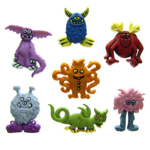 7 unités patchwork drôle Monstres monstres boutons coloré scrap bouton