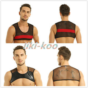 Linea-Uomo-Muscolo-Canotta-Mezza-Pelle-Mesh-Vest-Harness-STADIO-dacne-Costume-Gym-Club