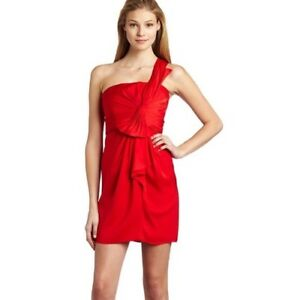 NEW-BCBG-Max-Azria-Woman-039-s-Dress-Palais-One-Shoulder-Cocktail-Dress-Red-Size-8