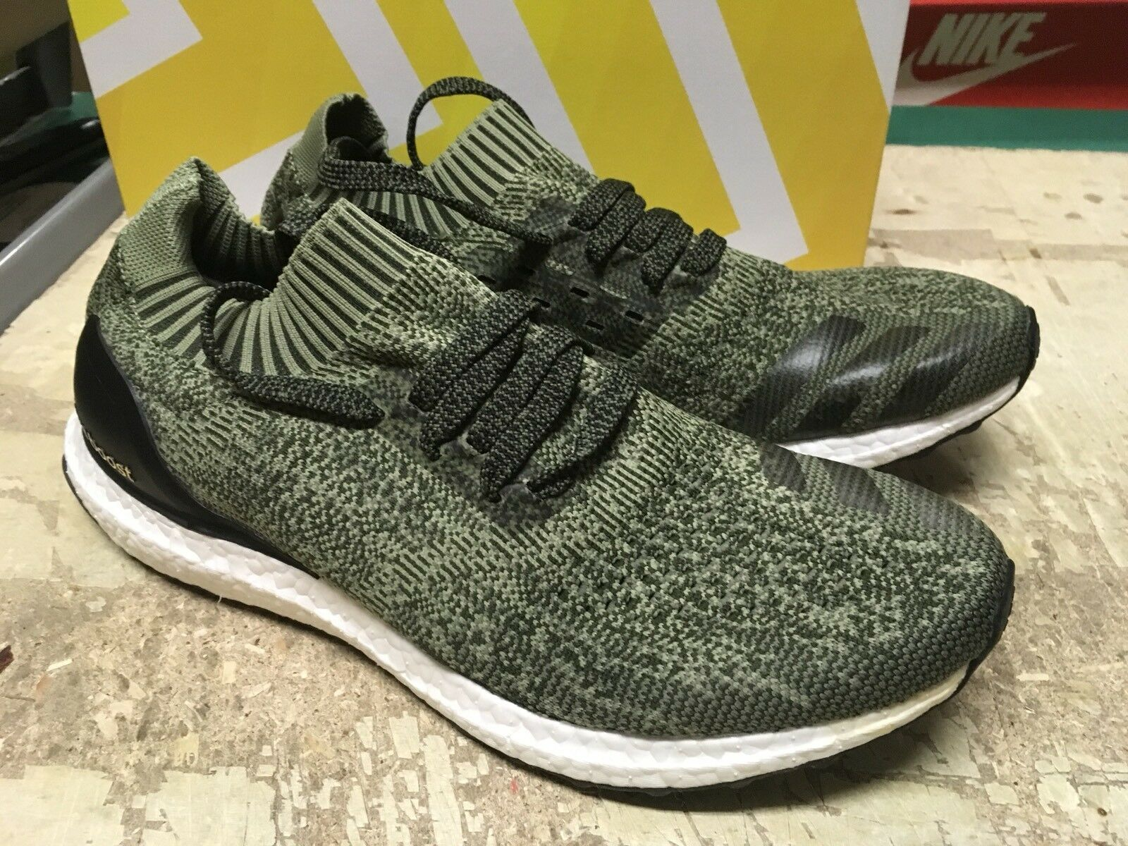 USED Men's ADIDAS ULTRA BOOST UNCAGED Olive BB3899 SZ 10 Free SHIP RUNNING SHOES