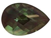 Rare Andesine Labradorite, Pear Green & Red Color Change, 11x8mm Loose Gemstones