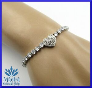 Bracciale donna in acciaio inox argento con cuore braccialetto bracciali da per