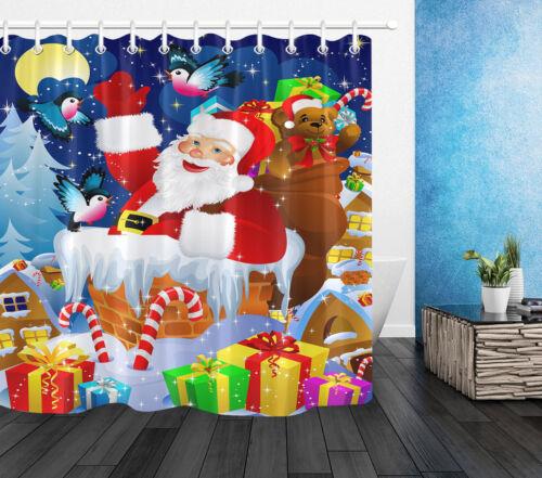 "72X72/"" Santa Claus Christmas Gifts Shower Curtain Waterproof Bathroom Set Hooks"