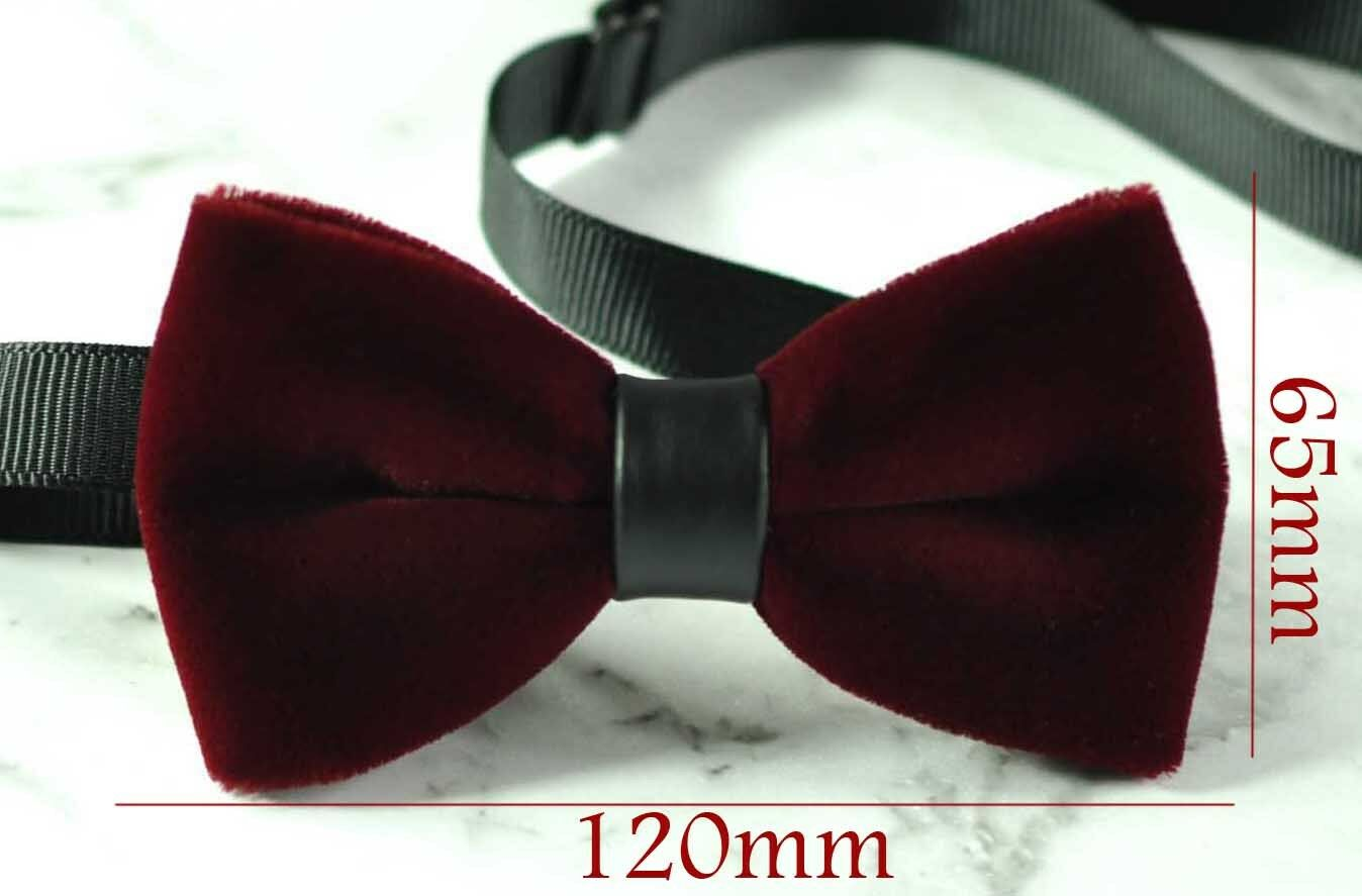 Black Faux Leather Bow tie Bowtie Wedding Party Men Burgundy Wine Red Velet