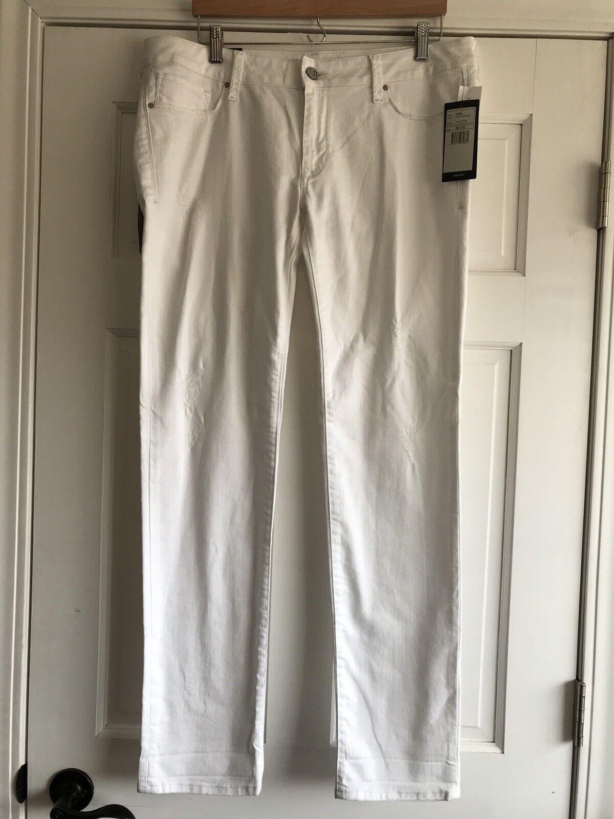 Mavi White Emma Distressed Stretch Slim Boyfriend Jeans Womens 32x32