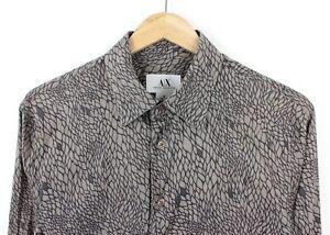 ARMANI-Exchange-da-Uomo-a-Maniche-Lunghe-Modello-in-scala-grigio-100-cotone-maglietta-slim-M