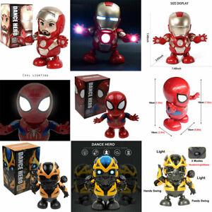 Dance-Spiderman-Bumblebee-Iron-Man-Toy-Figure-Dancing-Robot-w-LED-amp-Music