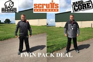 Scruffs-Hardcore-Pantalones-De-Trabajo-Chaquetas-Abrigo-Chaleco-con-Capucha-Twinpack-trato
