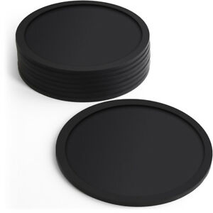 8pc Set Round Black Silicone Coasters Non-slip Cup Mats Pad Drinks Table Glasses