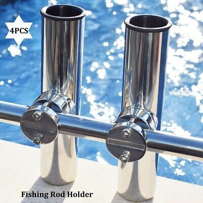 """Set of 6 Stainless Clamp On Fishing Rod Holder For Rails 7//8/"""" to 1/"""" Rail Mount"""