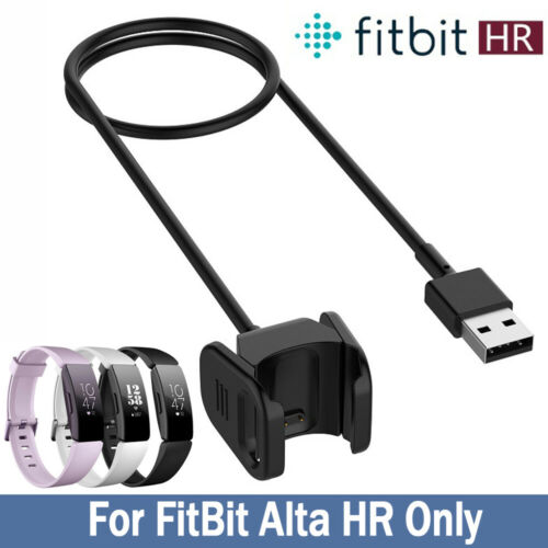 USB Charging Cable Charger  for FitBit Alta HR Wristband With Reset Button Black