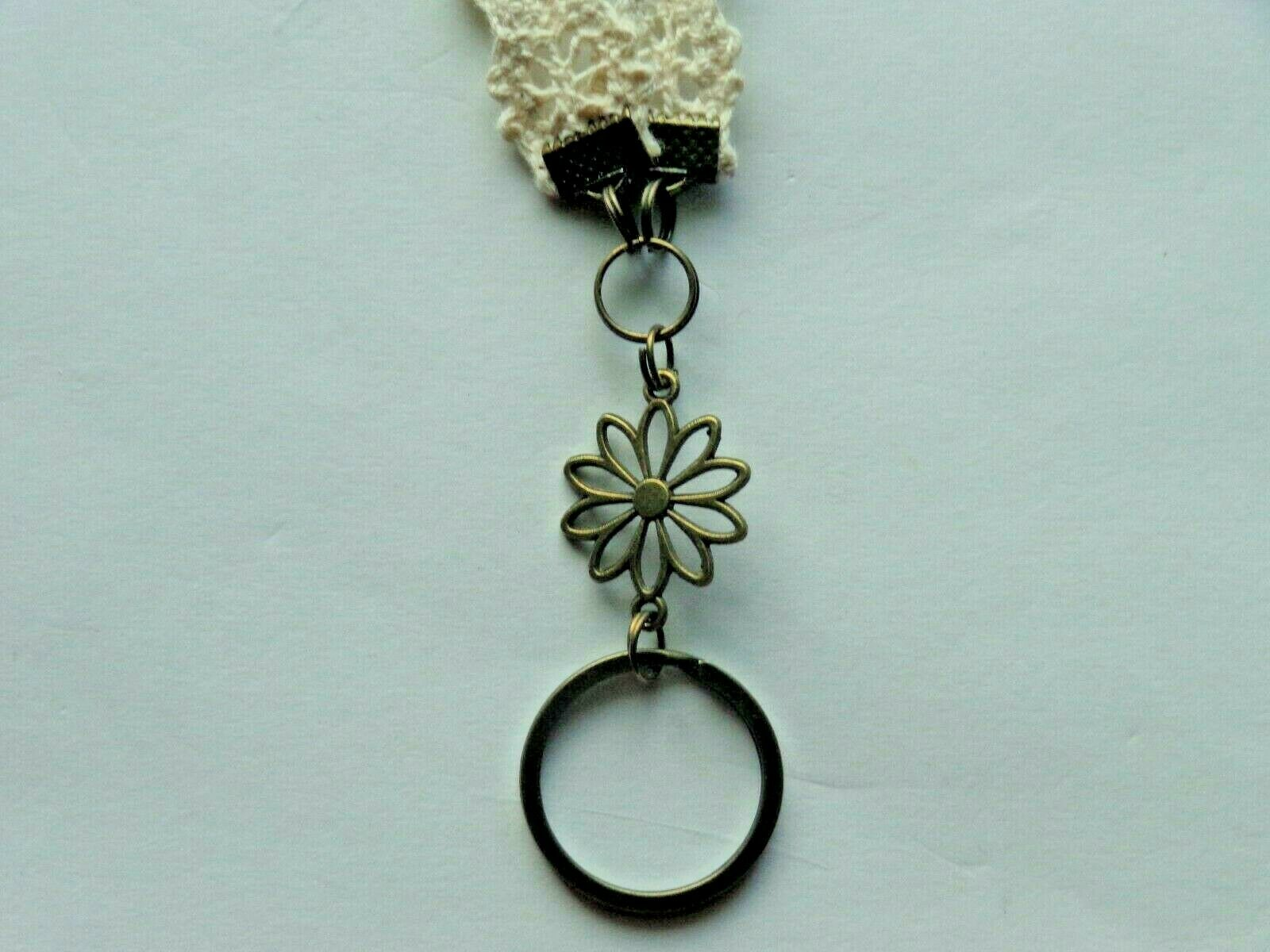 %100 COTTON OFF WHITE LACE LANYARD ID BADGE HOLDER NECKLACE COMFORT FOR YOU NECK