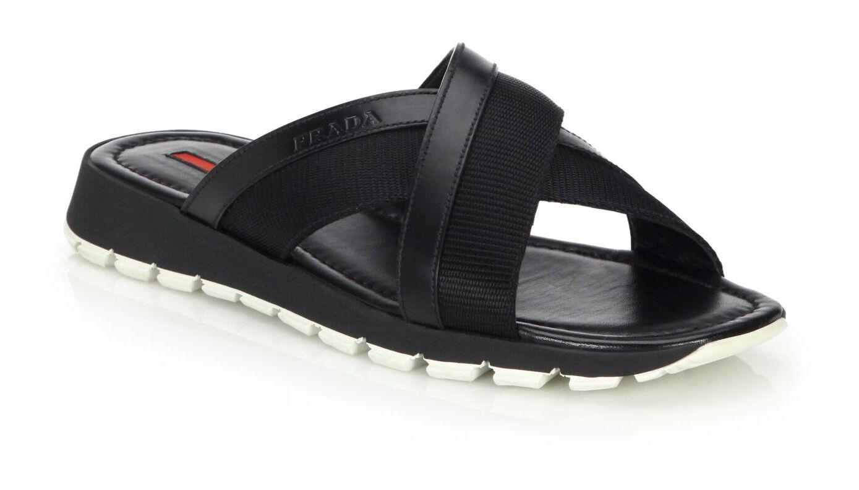Sandali e scarpe per il mare da uomo 100% authentic Prada Spazzolato Crossover Sandals sz 11 (12US)