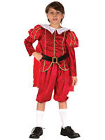 Child Boys Tudor Red Prince Costume Outfit Fancy Dress Book Week Medieval King