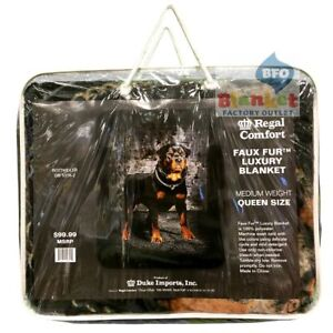 "Rottweiler Dog Faux Fur Queen Size Blanket 79"" x 96"" NEW"