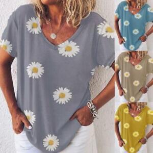 Womens-Loose-Shirt-Tee-Ladies-Short-Sleeve-Daisy-Blouse-Sweatshirt-Holiday-Tops