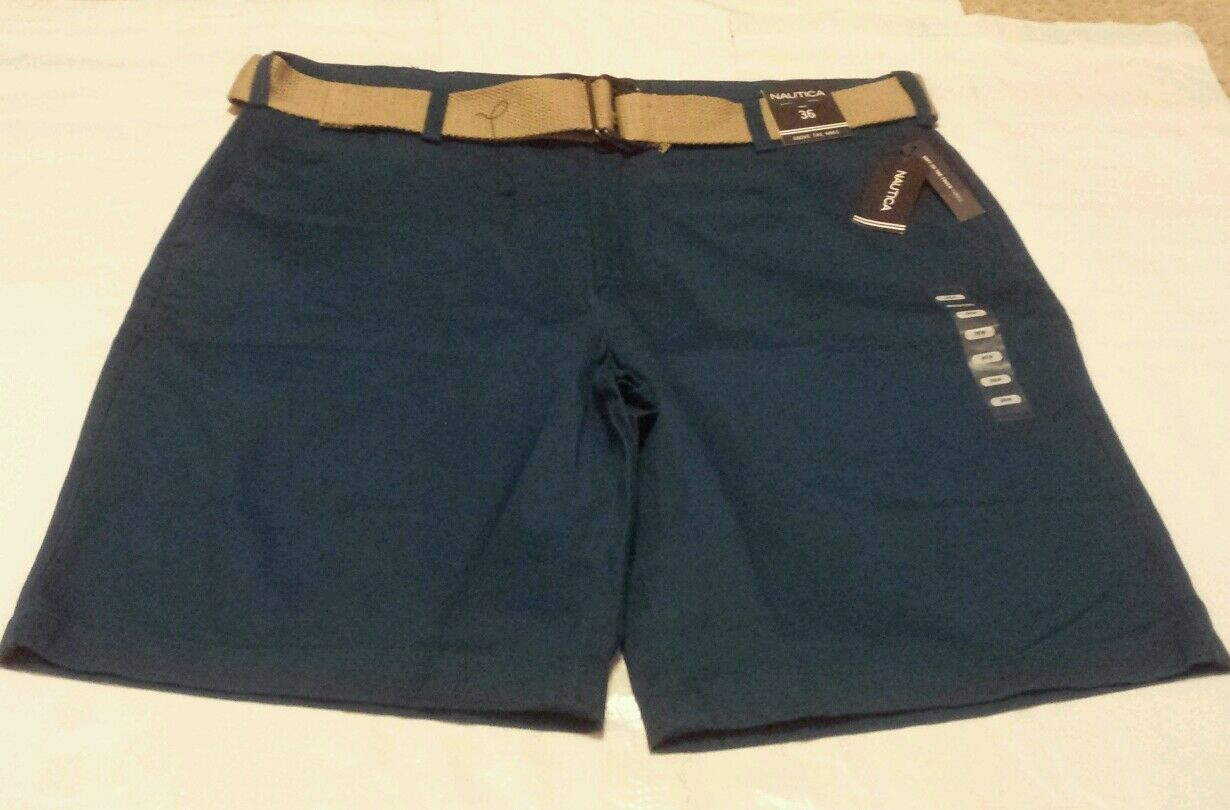 NEW Nautica Men's Above The Knee bluee Shorts w  Belt Size 36  Retail