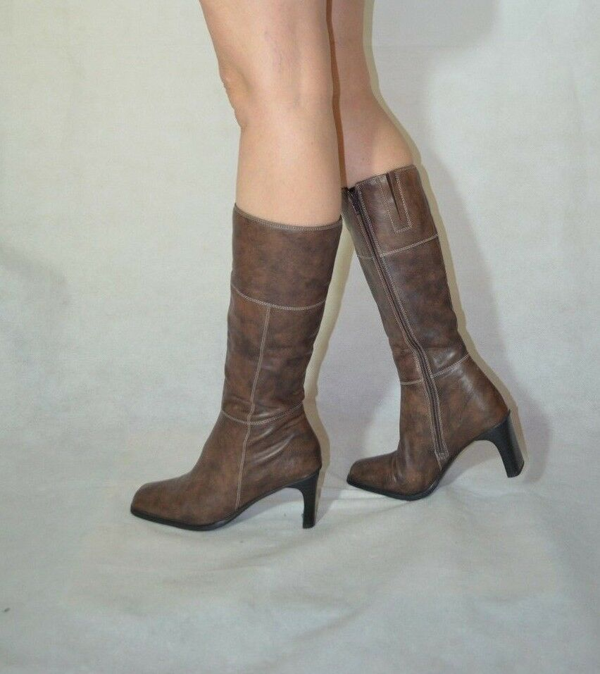 Women Brown Mid Calf Boots Stitches Real Leather Hush Puppies Size 4