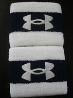 Under Armour 3 Wristband Adult One Size Color Navy/white Set Of 2-new