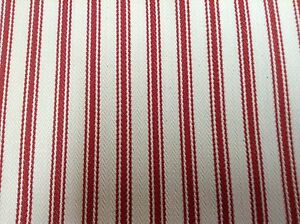 Falmouth Herringbone Ticking Stripe Redwhite Cotton Upholstery