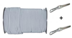 10m Expanderseil Planenseil Weiß 8mm mit Seilendverschluss 8mm m 2 Simplexhaken