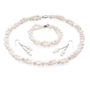 Baroque Pearl Necklace Bracelet & Earring Set Double Strand White Black Grey Red