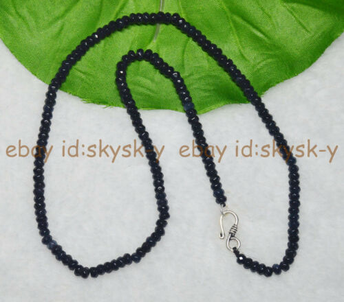 Lots 2x4mm Sapphire Black Blue Faceted Roundel Gems Beads Necklaces Silver Clasp