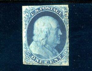 USAstamps-Unused-FVF-US-1851-Franklin-Imperforated-Blue-Scott-9-OG-MNH