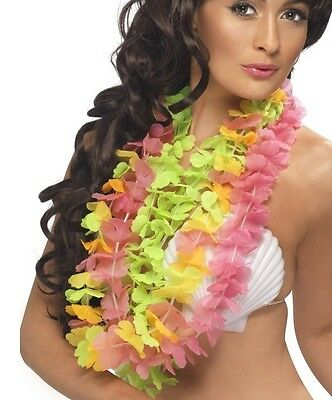 Hawaiian Deluxe Lei Garland Fancy Dress 6 Bright Colours New.