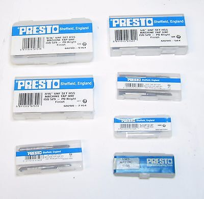 PRESTO BSW WHITWORTH HSS TAPS SET OF 3 MANY SIZES AVAILABLE THREADING RDGTOOLS