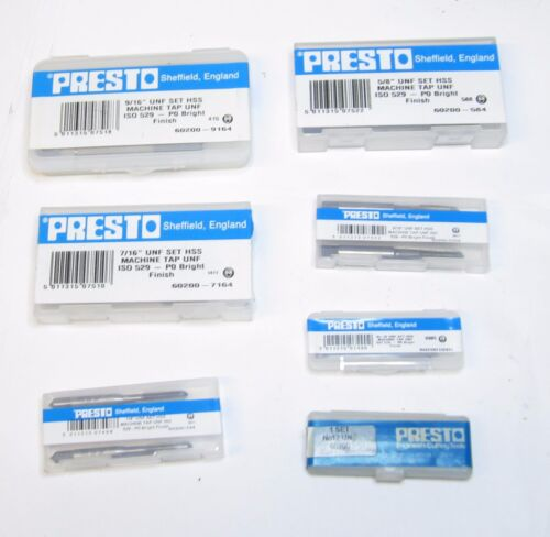NEW PRESTO UNF HSS TAPS SET OF 3 MANY SIZES AVAILABLE THREADING RDGTOOLS