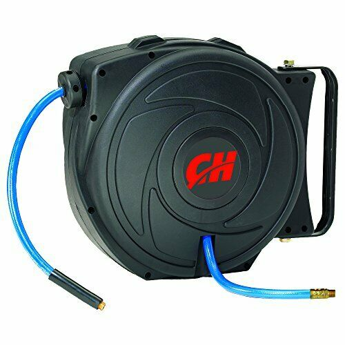 Air Hose Reel with Retractable 50 Foot Hose, 3 8 Inch ID, Mountable, Swivel B...