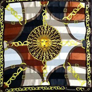 Roberta-di-Camerino-Square-Scarf-Black-Brown-Lion-Belts-Monogram-Vintage-Silk34-034