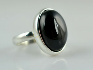 Black-Onyx-Oval-Silver-Ring-925-Solid-Sterling-Silver-Handmade-Jewelry