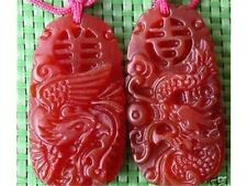 Big Delicately Carved Carnelian Lucky Word Dragon Phoenix Amulet Pendant