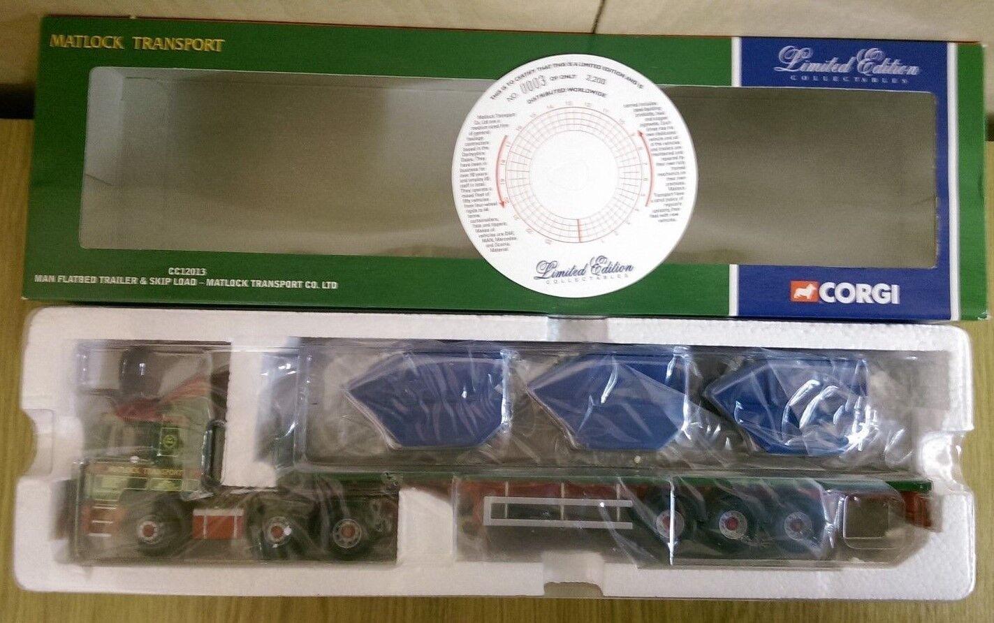 Corgi CC12013 Hombre Caja Remolque & Skip carga Matlock TRANS. Ltd Ed 0003 de 2200