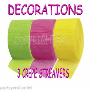 Crepe Streamers Lime Green Bright Pink Yellow Garlands Swags Party