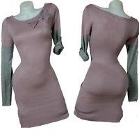 Luxury Cashmere Knitted Dress Long Jumper Autumn Dress 36 38 40 42 Lilac Dress