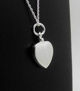 925 Sterling Silver Heart Memorial Keepsake Cremation Ash Urn Jewellery Pendant