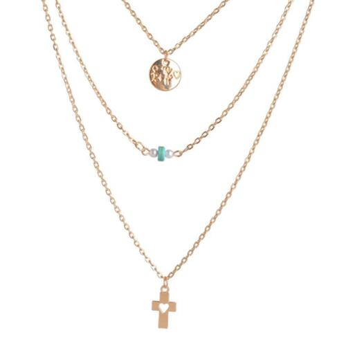 Tripla collana turchese perle croce; Triple Necklace turquoise cross pearls #CD1