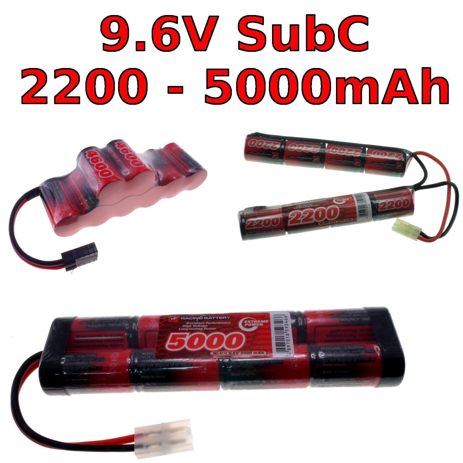 9.6V 2200-5000mah SubC SC PREMIUM RACING RC NIMH BATTERIA CONFEZIONE + su misura
