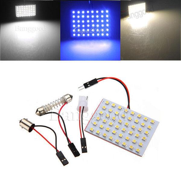 1/5x Car Interior Light Panel 48 SMD LED T10 BA9S Dome Festoon Bulb Adapter 12V