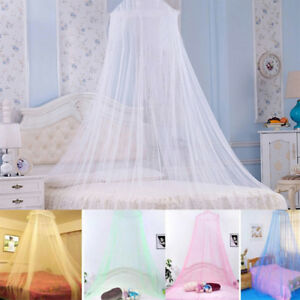 White Pink Blue Queen Canopy Bed Curtain Dome Round Stop ...