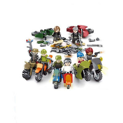 8pcs/set Military Survival Motor Weapon Building Blocks Bricks Figure Model Toys Spielzeug