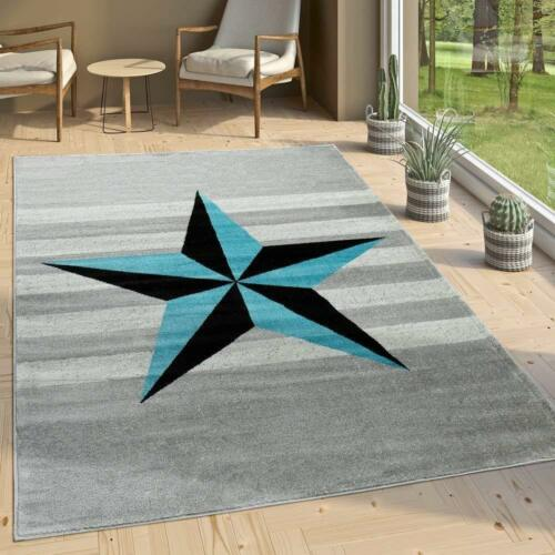 Contemporary Rug Grey Black Blue Star Mats New Carpet Living Room Small Large XL