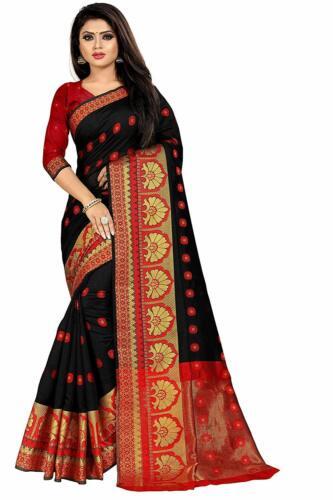Indian  Women/'s Cotton Silk Jacquard Saree with blouse piece